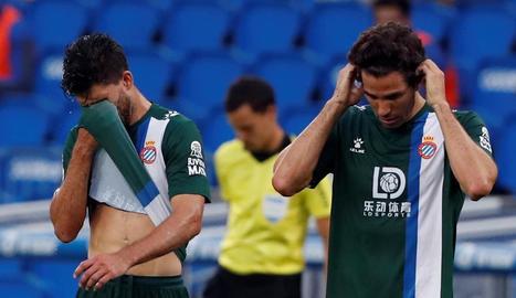 Dídac Vilà i Leandro Cabrera, en un moment del partit.