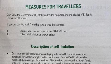Bèlgica demana als viatgers que arribin del Segrià que facin quarantena i un test de la covid-19