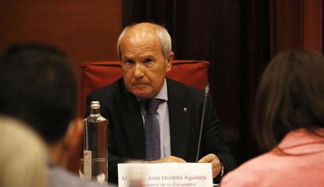 José Montilla, durant la Comissió del Parlament.