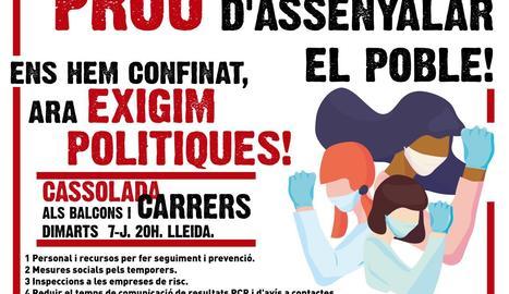 Marea Blanca de Lleida convoca una cassolada a Lleida