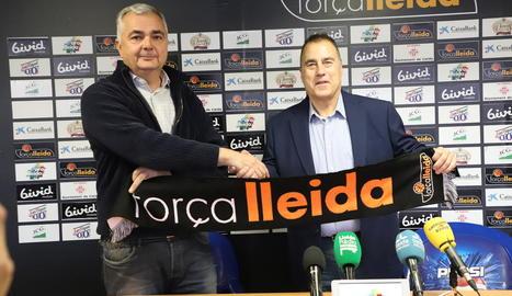 Albert Aliaga, a la presentació de Gustavo Aranzana, presidirà a partir d'ara el Força Lleida.