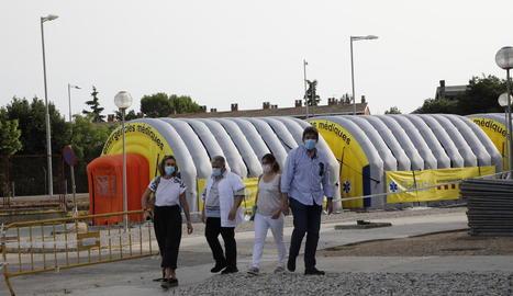 L'hospital de campanya al costat d'Urgències encara no ha entrat en servei al no ser necessari.