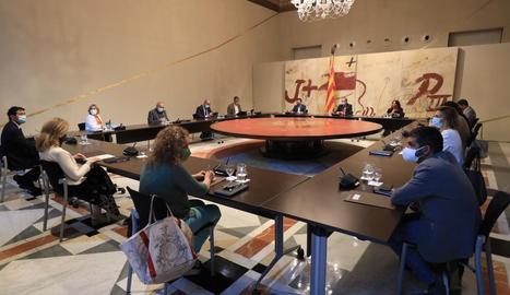 Un moment del Consell Executiu extraordinari d'ahir a la nit per donar cobertura legal al confinament de Lleida.