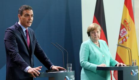 El president Pedro Sánchez amb la cancellera Angela Merkel ahir.