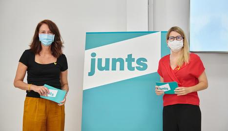 Marta Madrenas i Elsa Artadi van presentar el logotip de Junts.