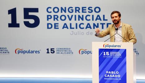 Casado va participar en el congrés provincial del PP d'Alacant.
