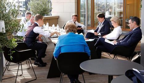 Reunió entre Sánchez, Merkel, Macron, Conte i Lagarde durant el dia d'ahir a Brussel·les.