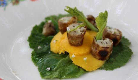 Presentació d'un plat elaborat amb tèrmits i mango.