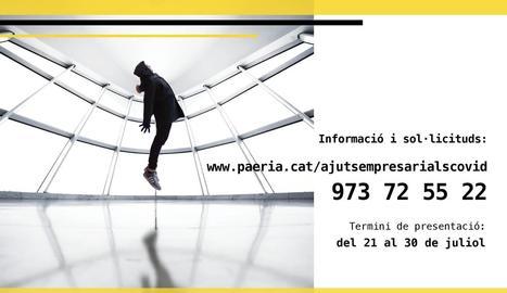 El cartell promocional informant dels ajuts de la Paeria.