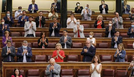 El grup socialista aplaudeix després d'una de les votacions.