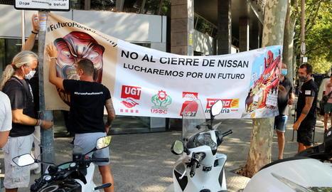 Protesta dels treballadors de Nissan dimarts a Barcelona.