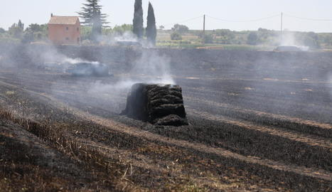 Un foc va afectar una vintena de bales de palla a Bell-lloc.