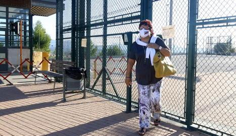 Carme Forcadell, en una sortida de la presó al febrer.