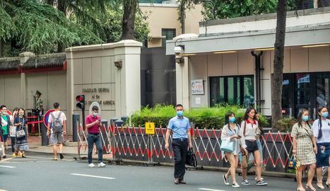 Exterior del consolat dels EUA a la ciutat xinesa de Chengdu.