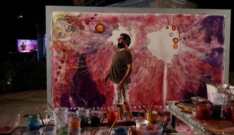 Pintura i música es fusionen per homenatjar el personal sanitari