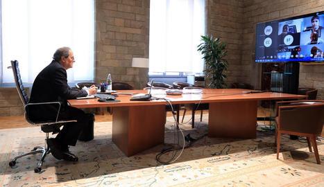 Imatge del president Torra a la reunió telemàtica amb els alcaldes de la Noguera.