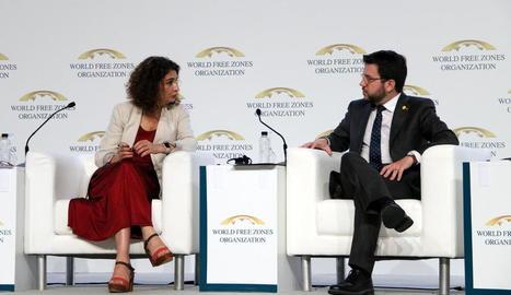 La ministra Montero i el vicepresident Aragonès, el 2019.