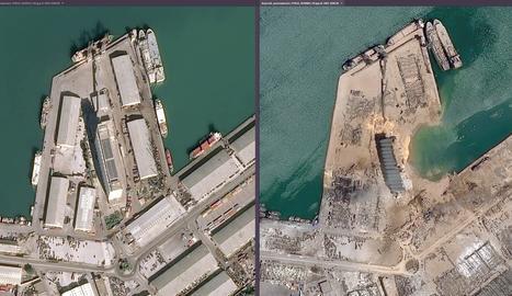 Combo de fotografies que mostren una vista aèria de la ciutat de Beirut, abans (esquerra) i després (dreta) de la forta explosió ocorreguda ahir dimarts.