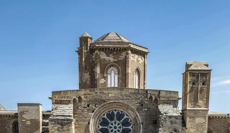 L'alcalde accidental, Toni Postius, ahir durant la visita a les obres de restauració de la Seu Vella.