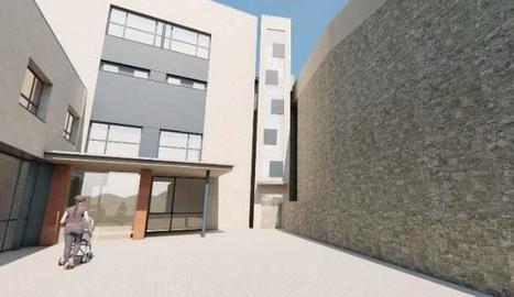 Imatge virtual del futur ascensor al costat del CAP de la Pobla.