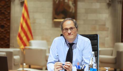 El president del Govern, Quim Torra, reunit pel seguiment de la covid-19 a Catalunya al Palau de la Generalitat