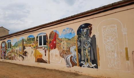 Imatge del mural, encara en elaboració, a la cooperativa de Palau de Noguera.