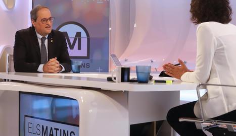 El president del Govern, Quim Torra, entrevistat a TV3 aquest dilluns.