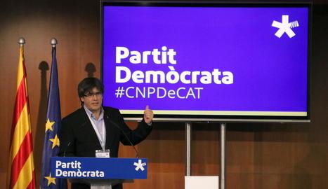 Puigdemont durant una intervenció al consell nacional del PDeCAT el setembre del 2017.