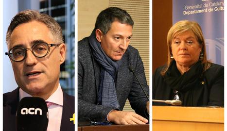 L'economista Ramon Tremosa, nou conseller d'Empresa, l'advocat Miquel Sàmper, nou conseller d'Interior, i la professora Àngels Ponsa, nova consellera de Cultura, en imatges d'arxiu.