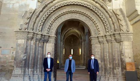 El paer en cap, Miquel Pueyo; el president de la Diputació de Lleida, Joan Talarn, i el delegat del Govern a Lleida, Joan Farré, han presentat l'acte unitari per commemorar la Diada Nacional de Catalunya a Lleida