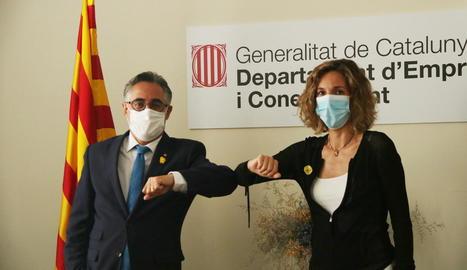 El conseller Tremosa i l'exconsellera Chacón, del PDeCAT, ahir.