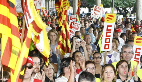 Manifestació a Lleida durant la vaga del 29 de setembre del 2010, contra la reforma de Zapatero.