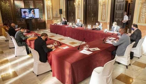 Imatge de la reunió d'ahir de la Junta Local de Seguretat.