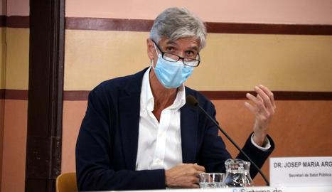 El secretari de Salut Pública, Josep Maria Argimon, en una roda de premsa.