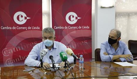 Jaume Saltó i Oriol Oró en un moment de la roda de premsa.