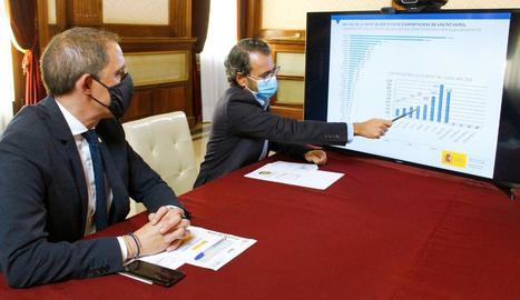 José Crespín i Miquel Molins, explicant les dades.