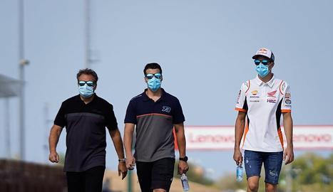 Àlex Márquez va reconèixer ahir a peu el circuit de Misano.
