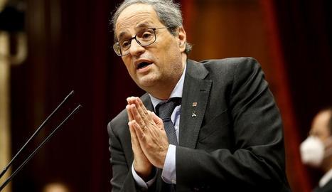 El president de la Generalitat, Quim Torra, ahir, durant la seua intervenció al Parlament.