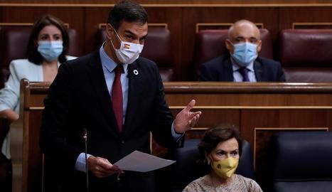 Sánchez, ahir, durant la seua intervenció al Congrés
