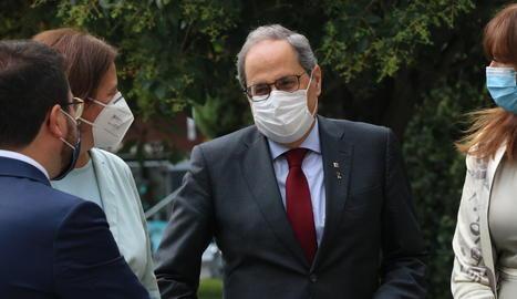 El president de la Generalitat, Quim Torra, minuts abans d'entrar al Tribunal Suprem