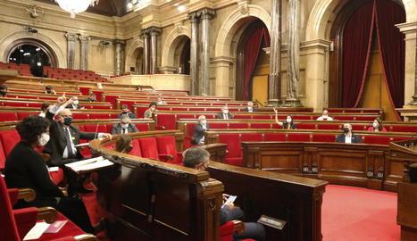Votació de les resolucions del debat de política general, ahir.