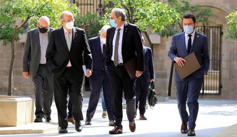 El president Torra i el vicepresident Aragonès, ahir, amb el líder de Pimec, el lleidatà Josep Gonzàlez.
