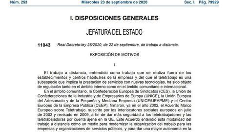 DOCUMENT   El BOE publica la llei que regula el teletreball