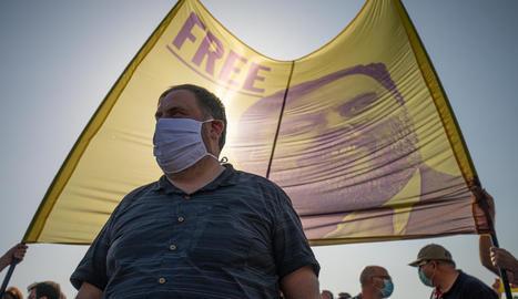 Junqueras, durant un acte per la llibertat dels líders condemnats per l'1-O, a finals de juliol.