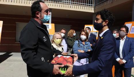 El conseller Damià Calvet a la presentació del nou model de rodalies a la Llotja de Lleida.