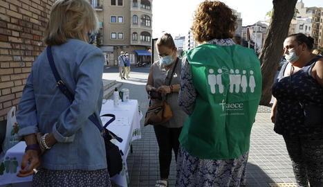 Imatge d'una de les sis taules que es van instal·lar dimecres a la ciutat de Lleida.