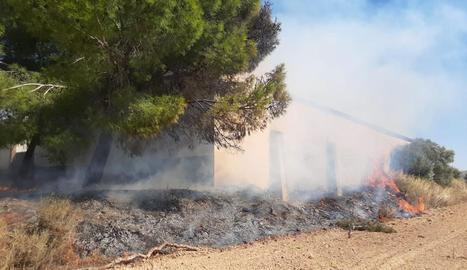 El foc es va declarar a les 12.46 hores d'ahir a prop del cementiri.