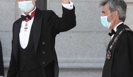 Felip VI i el president del Tribunal Suprem, Carlos Lesmes, a començaments d'aquest mes a Madrid.