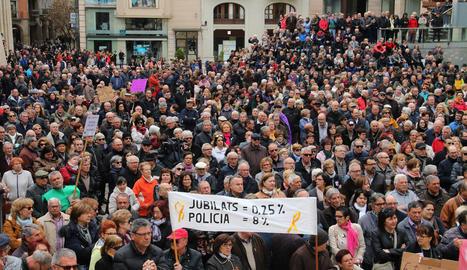 Protesta en defensa de les pensions públiques a Lleida, el 2018.