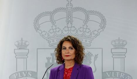 La portaveu del Govern central, María Jesús Montero, ahir, després del Consell de Ministres.